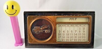 Perpetual Calendar Copper Paperweight, Vintage 1960s, CHALLENGE Cement Company