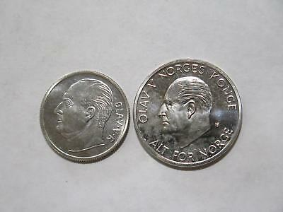 Norway Norge 1970 1 Krone 5 Kroner Olav V Konge Old World Coin Collection Lot