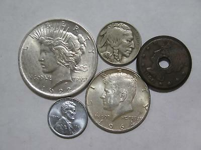 1925 Peace Dollar Steel Lincoln Cent Buffalo Nickel Large 1C Coin Collection Lot