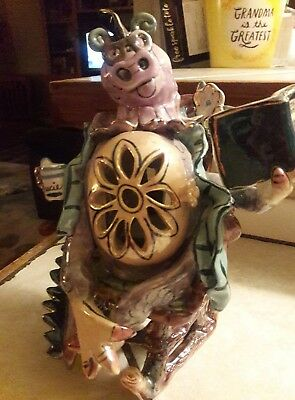 Rare 2004 Whimsicle  Heather Goldmic Blue Sky Dragon Gracie Tealight Garden Book