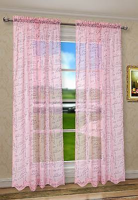 "2Pcs CaliTime French Script Faux Linen Sheers Pink Window Curtains Panels 55""W"