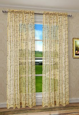 2Pcs CaliTime French Script Faux Linen Sheers Gold Window Curtain Panels Valance