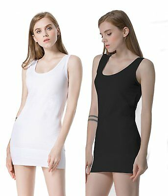 Moxeay Pack of 2 Womens Extra Long Stretch Cotton Tank Top- Black & White