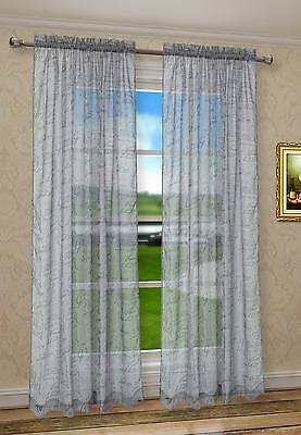 2Pcs CaliTime French Script Faux Linen Sheers Grey Window Curtain Panels Valance