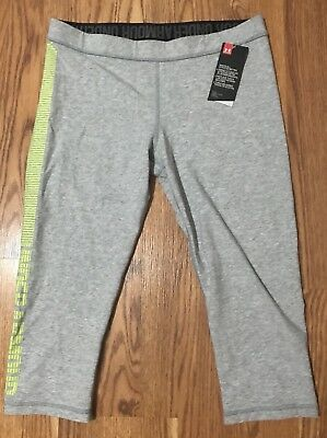 NWT Women's Under Armour Capri Leggings, Gray And Yellow, Size Large, Athletic