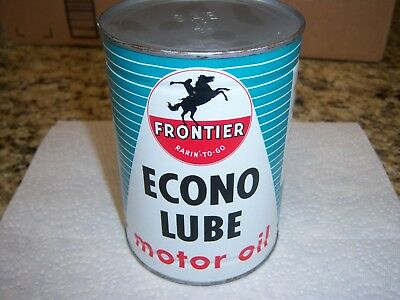 """Frontier """"rarin'-To-Go"""" Econo Lube Motor Oil 1 Quart Metal Oil Can"""