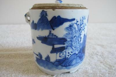 Antique Chinese Blue & White Tea Caddy – Qing Dynasty 18th Century