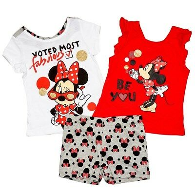 Disney Minnie Mouse Toddler Girls 3 Piece Short Set Character Tees Size 2T-4T