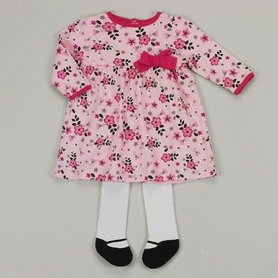NEW Baby Gear Floral Dress with Tights Size 0-3 Months Large Tights