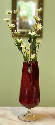 Vintage Mid Century Whitefriars Ruby Red Glass Vase With Sticker