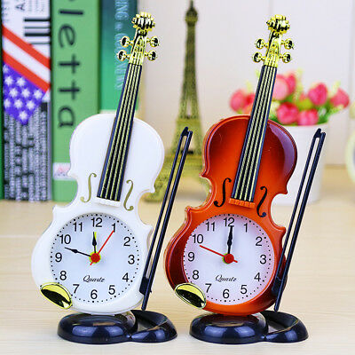 1PC Simulation Violin Alarm Clocks Musical Instruments Modelling Desktop Clock