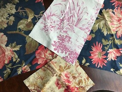 4 x Antique Toile De Jouy French Cotton fragment patchwork projects framing