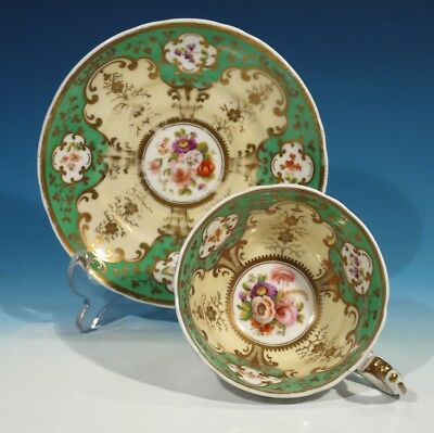 Victorian Handpainted China Floral Gilt & Apple Green Cup & Saucer.