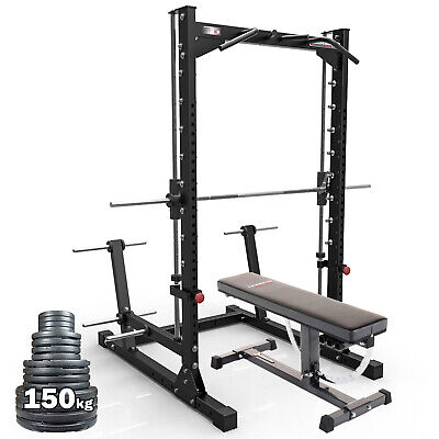 Barbarian SMITH MACHINE HALF RACK PACKAGE // Barbell Weights Bench Home Gym Set