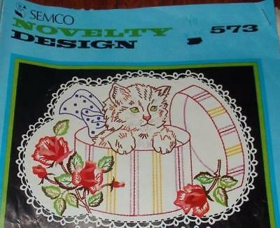 NEW UNWORKED SEMCO DOILY to EMBROIDER~CAT IN HAT BOX~ROSES~NOVELTY DESIGN #573~
