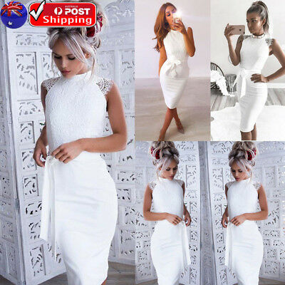 Women White Sleeveless Lace Bodycon Slim Midi Dress Cocktail Party  Pencil Dress