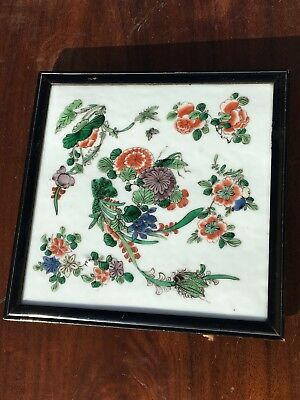 Fine Chinese Qing Dynasty Famille Verte Porcelain Tile Plaque 19Th Century