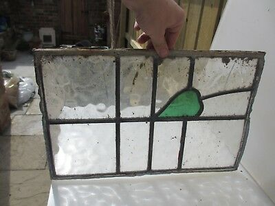 """Vintage Stained Glass Window Panel Old Antique Leaded  11.25"""" x 17.25"""""""