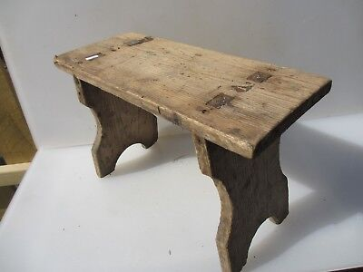 Vintage French Wooden Stool bench Seat Step Farmhouse Country Rustic Old