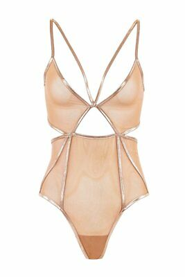 Free People For Love & Lemons Vega Rose Gold Mesh Bodysuit