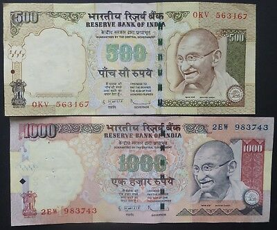 India 500 and 1000 Rupee Bank Notes