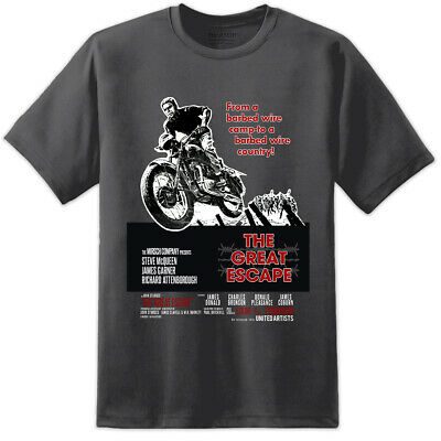 Mens Steve McQueen Great Escape Movie Poster T Shirt War Film Collector Das Boot