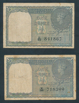 India: 1940 1 Rupee George VI Portrait & COIN DESIGN. Pick 25a (2), Cat VF $48