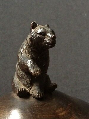 Antique Black Forest Carved Glass Eyed Bear Lidded Bowl