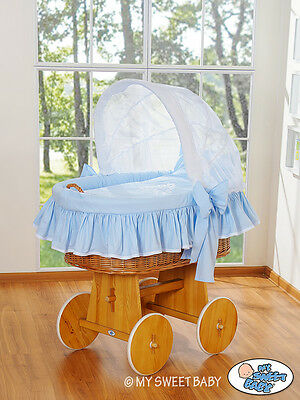 My Sweet Baby - Glamour Wicker Crib Moses Basket - Blue