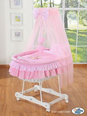 My Sweet Baby - Majestic White Wicker Crib Moses Basket - Pink
