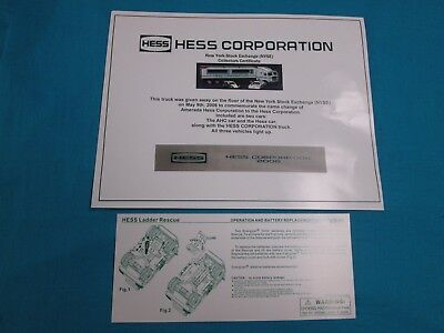 2006 Hess NYSE Truck Certificate of Autenticity and Battery Card