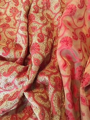 lovely red and beige organza indian sari with red border