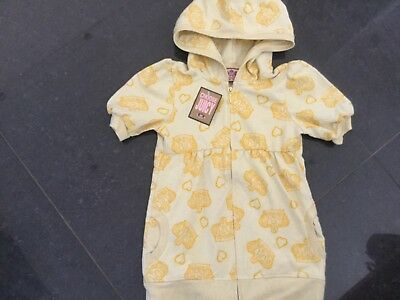 NWT Juicy Couture New & Genuine Girls Age 8 Yellow Cotton Hoody With Crown Logo