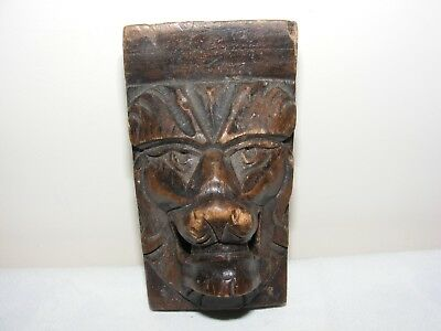 ANTIQUE CARVED HARDWOOD LION HEAD CORBEL 19th C CARVING SCULPTURE MASK FACE ART