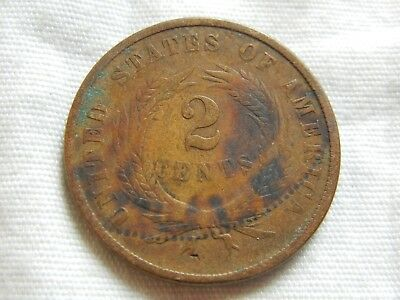 1866 two cent piece old US copper coin