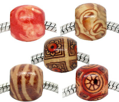 LOT of 60 LARGE BEADS wooden 5 patterns 12 x 11 mm jewelry creation