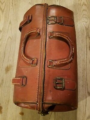 Vintage Crest Large Leather Doctors Satchel Bag Medical Bag Suitcase  L@@k
