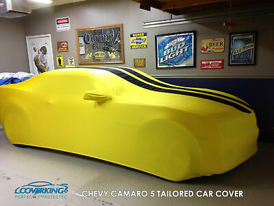 Coverking Satin Stretch Yellow Black Car Cover for Chevy Camaro 5 Bumblebee