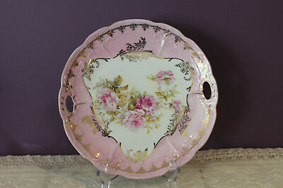 "Vintage Three Crowns China Germany 9-1/2"" Serving Plate With Pierced Handles"