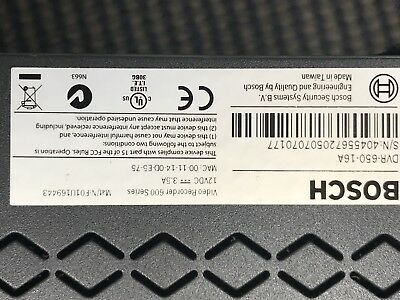 Bosch Video Recorder 600 Series DVR 670-16A000 2TB With Remote, & Power Cord
