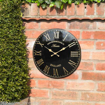 Large 38cm Black Gold Outdoor Indoor Garden Wall Clock Hand Painted church clock