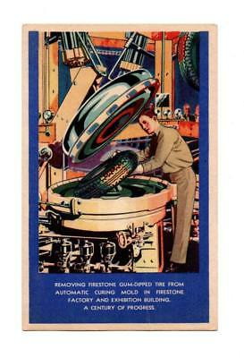 Vintage Postcard Of A Firestone Tire Auto Curing Mold At A Century Of Progress