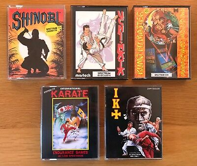 ZX Spectrum...5 GAMES inc. SHINOBI, INTERNATIONAL KARATE, IK+, KUNG-FU MASTER ++