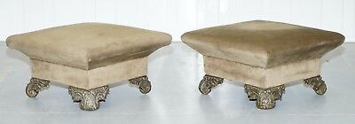 Pair Of Very Rare Early Victorian 1850 Footstools With Leaf Cast Bronze Feet