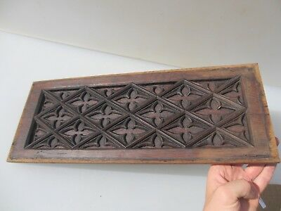Georgian Carved Wooden Panel Plaque Door Antique Gothic Window Old 18th Century