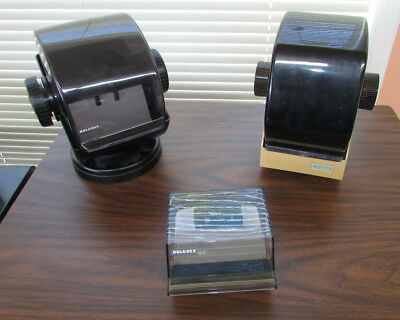 LOT OF 3 LARGE ROLODEX Rotary Card Files with Blank cards + tabs
