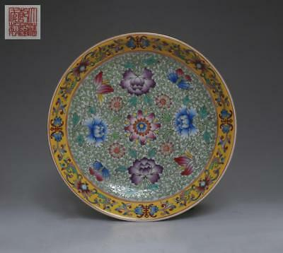 Fine Chinese Famille Rose Porcelain Dish Qianlong Marked Painting Flower (328)