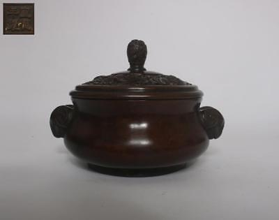 Large Old Rare Chinese Copper Incense Burner Xuande With Lid (130)