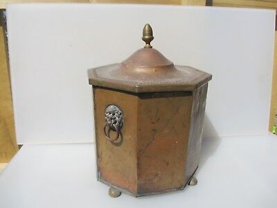 Victorian Brass Coal Bin Bucket Planter Tub Lion Handle Antique Finial Old Log