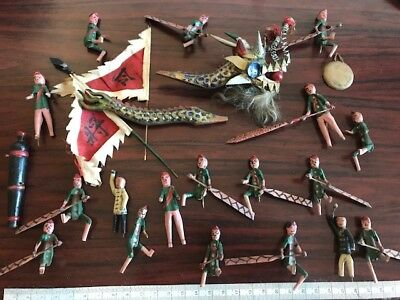 PRC . Chinese . Antique . Vintage . Hand carved wood Dragon Boat  & others RARE